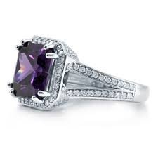 amethyst engagement rings sterling silver princess simulated amethyst cubic zirconia cz halo