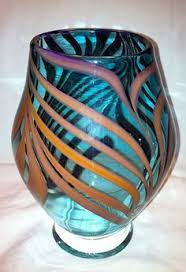 Blown Glass Art Vases Hand Blown Glass Art Vase Bright Bold Orange Yellow By Glassometry