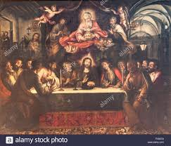 the last supper painting stock photos the last supper painting last supper wall fresco by lucas valdes 1661 1725 in in church in