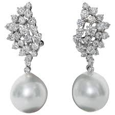 pearl dangle earrings diamond cluster and pearl dangle earrings for sale at 1stdibs