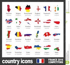 Country Flags England Modern Country Map Icons With Flags Of Participating Teams To The