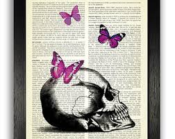 skull with lavender butterflies wall decor