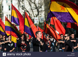 Flags In Spanish Madrid Spain 8th Apr 2017 People Waving Republican And