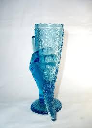 decorative glass vases and bowl antique vintage blue opalescent