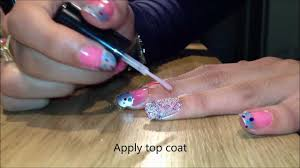 nail art tutorial silver pink blue and purple with nail beads