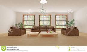 leather furniture in empty modern sitting room with plants stock
