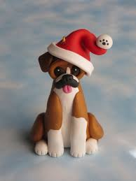 polymer clay boxer ornament figurine clay
