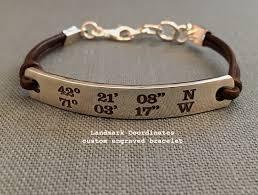 custom engraved bracelet landmark coordinates custom engraved bracelet