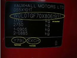 finding car paint colour codes for a vauxhall