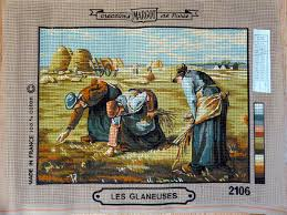 vintage needlepoint canvas les glaneuses working in the