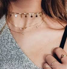 choker necklace layered images 2018 gold color chain tiny star choker necklace for women bijou jpg