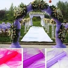 wedding arches supplies 100m lot organza fabric roll white pink purple fuchsia yellow
