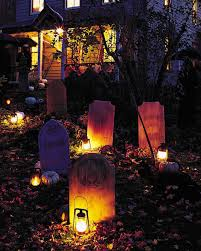 Halloween Yard Lighting Tombstone Yard Halloween Decorations Martha Stewart