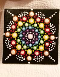 rainbow mandala dot painting 4 x 4 canvas home decor wall art rainbow mandala dot painting 4 x 4 canvas home decor wall art art and collectibles painting acrylic