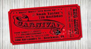 custom circus invitations carnival ticket invitation printable