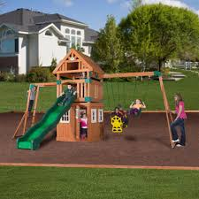 backyard discovery wooden swingset with clubhouse and fort