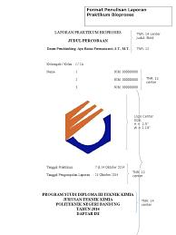 format laporan praktikum format laporan bioproses
