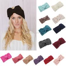 retro headbands knitted women headbands kids fashion handmade big bow hair