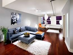 Wooden Floor L Interior Modern Living Room Wall Decor Features L Shaped Blue