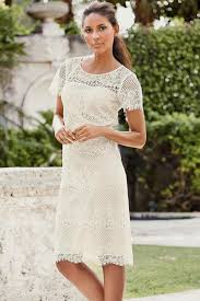 white knee length lace dresses with sleeves naf dresses