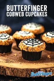 butterfinger cobweb cupcakes recipe halloween desserts