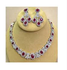 silver necklace ruby images Awesome ruby cz necklace exact diamond looks made in silver gleam JPG