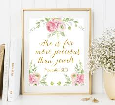 Scripture Wall Art Home Decor by Bible Verse Art She Is Far More Precious Than Jewels Nursery