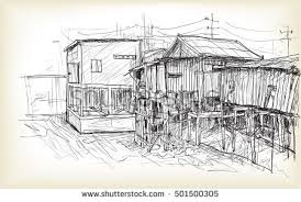 sketch townscape phnom penh slum wood stock vector 501500305