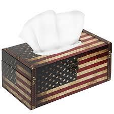 decorative tissue box decorative vintage patriotic american flag design hinged