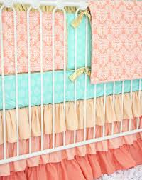 Pink And Teal Crib Bedding by Chloe U0027s Coral Damask Baby Bedding Caden Lane