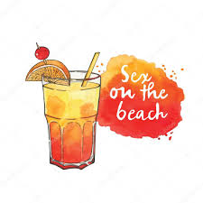 cocktail illustration sur la plage cocktail en verre u2014 image vectorielle 82192292