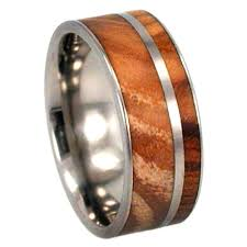 titanium band custom olive wood ring on titanium band jewelry by johan