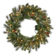 30 in pre lit b o led pine artificial wreath