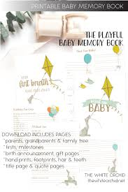 baby boy memory book printable playful baby memory book whiteorchidpaperie