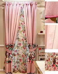 Peach Floral Curtains Pink Cotton Eco Friendly Fashion Style Floral Curtains