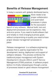 benefits of itil release management