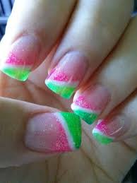 pink u0026 green white glitter angled french manicure style tips