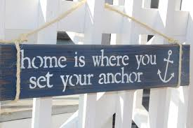 home is where you set your anchor reclaimed wood sign nautical