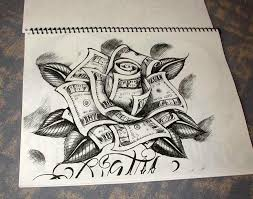 cool black ink money rose tattoo design