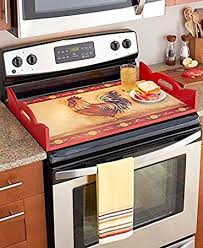 Rooster Decor For The Kitchen Amazon Com Decorative Wooden Stove Top Cover Serving Tray Kitchen
