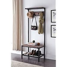 amazon com vintage dark brown industrial look entryway shoe bench