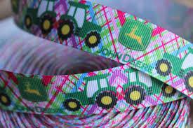 deere ribbon 4 yards deere tractor plaid grosgrain ribbon 1 by