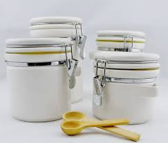oggi white canister jar 4 piece ceramic set kitchen containers
