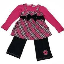 young little girls src young hearts little girls fuchsia black checker denim bow 2 pc pant