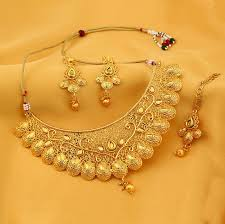women necklace set images Traditional gold plated kundan choker necklace set for women jpg
