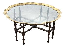 baker faux bamboo with brass framed glass top coffee table chairish