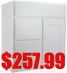 30 Bathroom Vanity With Drawers by White Shaker 30 Inch Bathroom Vanity With Left Drawers Vsd3021l