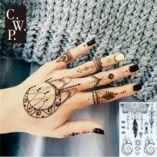 bh1701 1 black henna with moon and sun tribal pattern