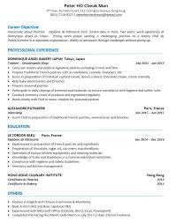 cv templates pastry chef asia hospitality careers