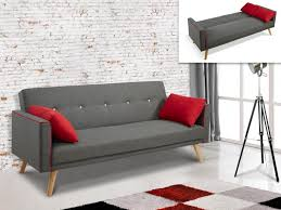 canapé coussins canapé clic clac en tissu gris et coussins darvel